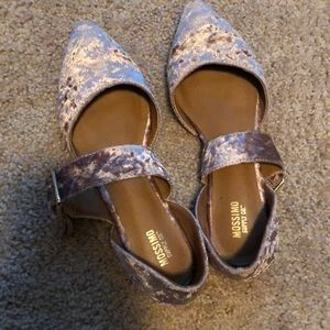 Pink velvet flats with buckle